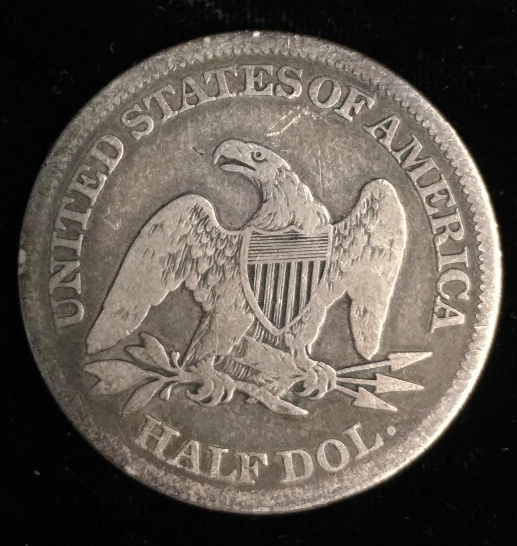 1861 50C Liberty Seated Half Dollar VG - 2