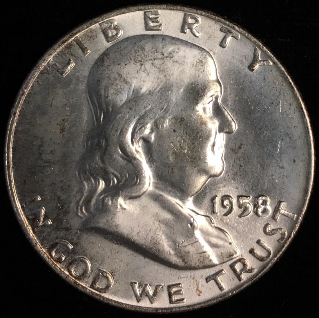 1958-D 50c Franklin Half Dollar Full Bell Lines GEM BU
