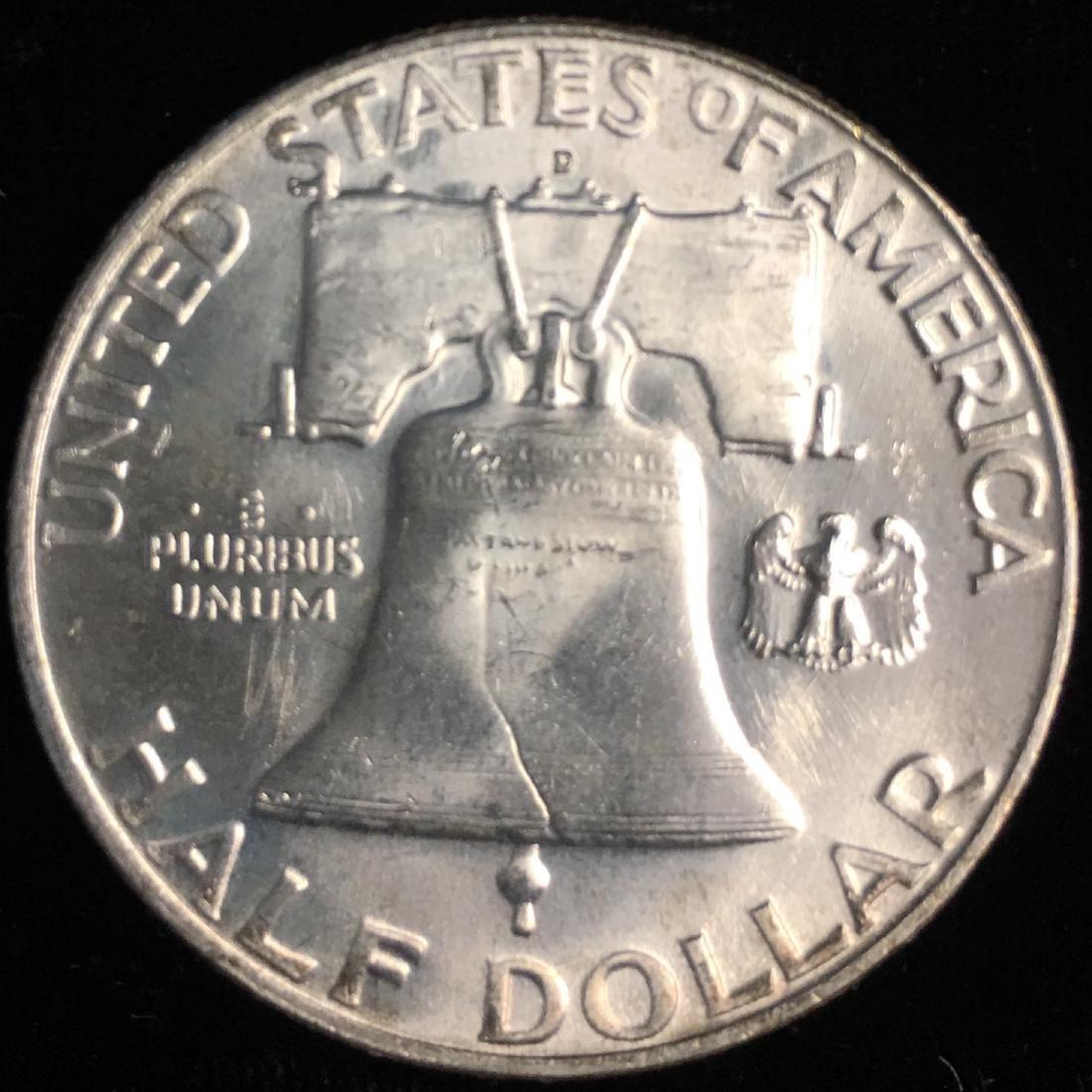 1958-D 50c Franklin Half Dollar Full Bell Lines GEM BU - 2