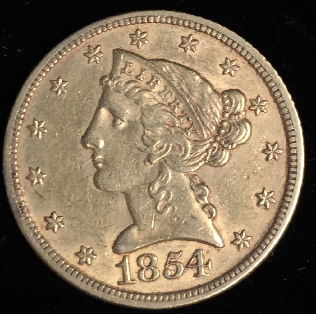 1854-P $5 Liberty Gold Five Dollars