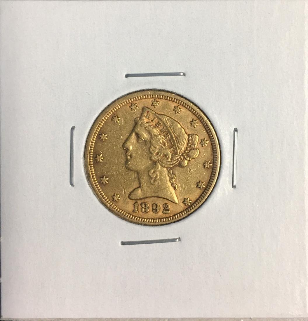 1892-P $5 Liberty Head Gold Five Dollars