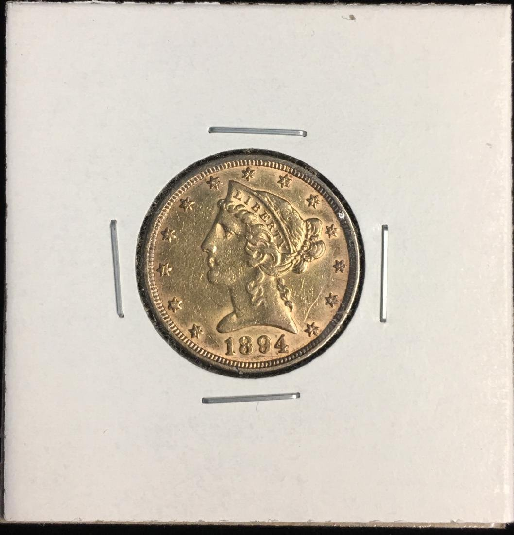 1894-P $5 Liberty Head Gold Five Dollars