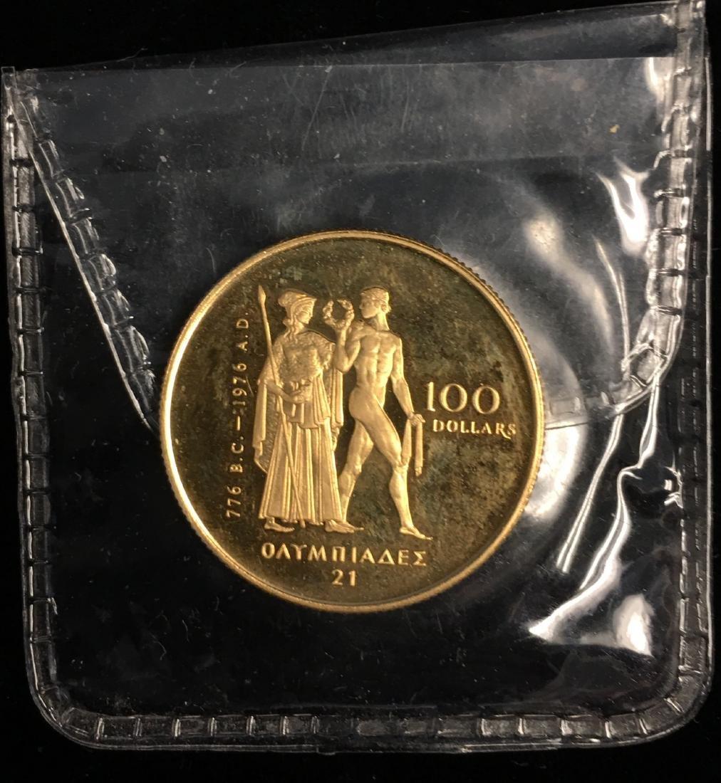 1976 $100 Canada Montreal Olympic Gold AGW :1/2 tr. oz