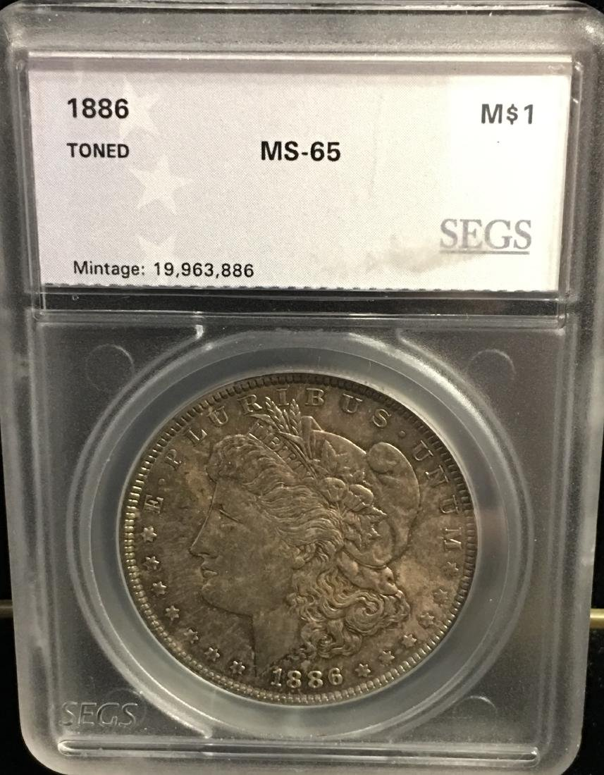 1886-P $1 Morgan Silver Dollar SEGS MS65 Toned