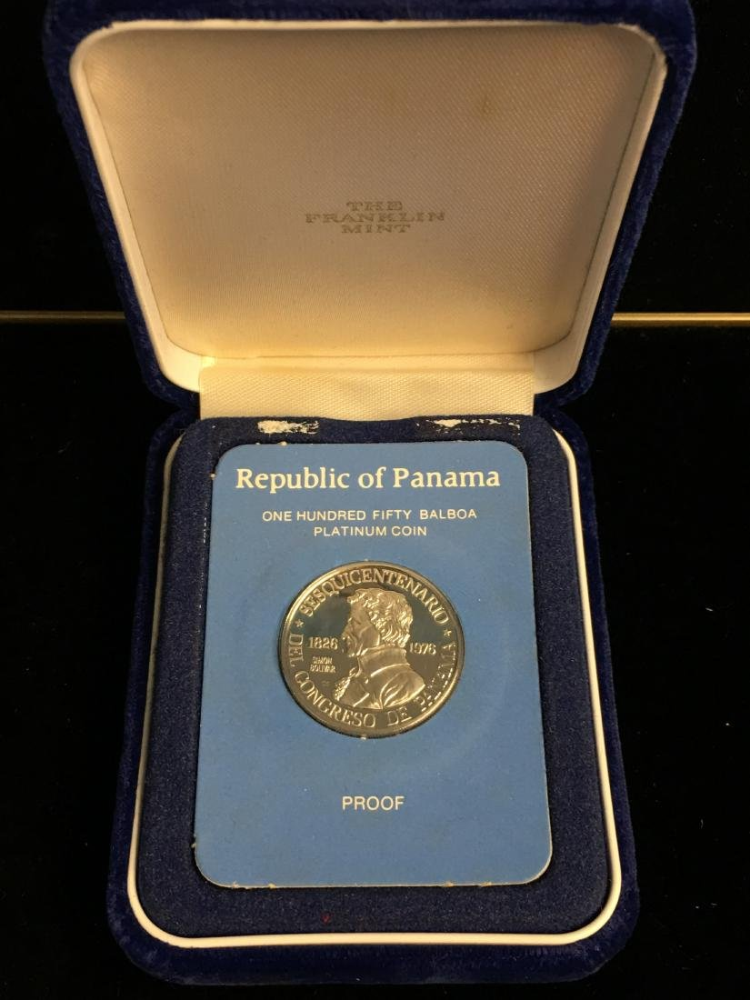 1976FM Panama 150 Balboa Platinum Proof  - Rare - Low