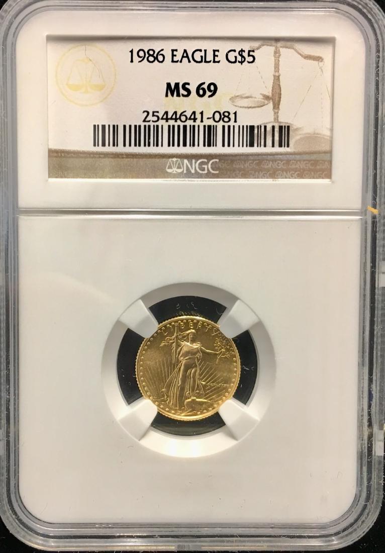 1986 $5 American Gold Eagle 1/10 oz NGC MS69