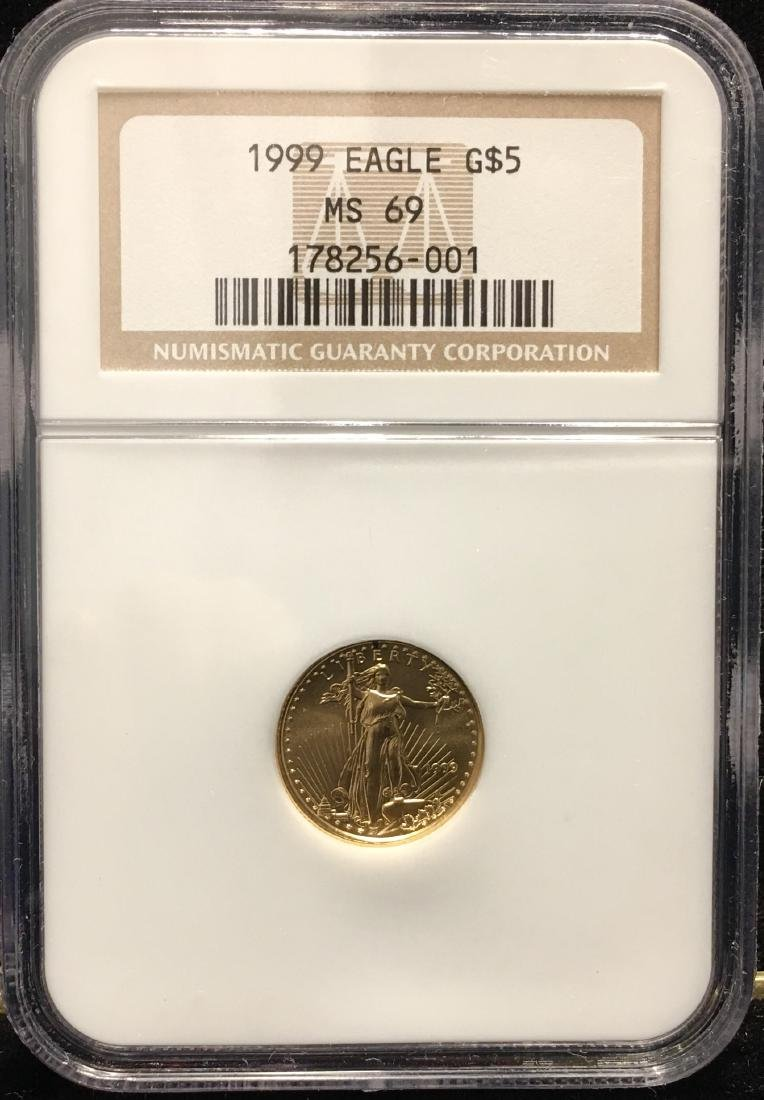1999 $5 American Gold Eagle 1/10 oz NGC MS69