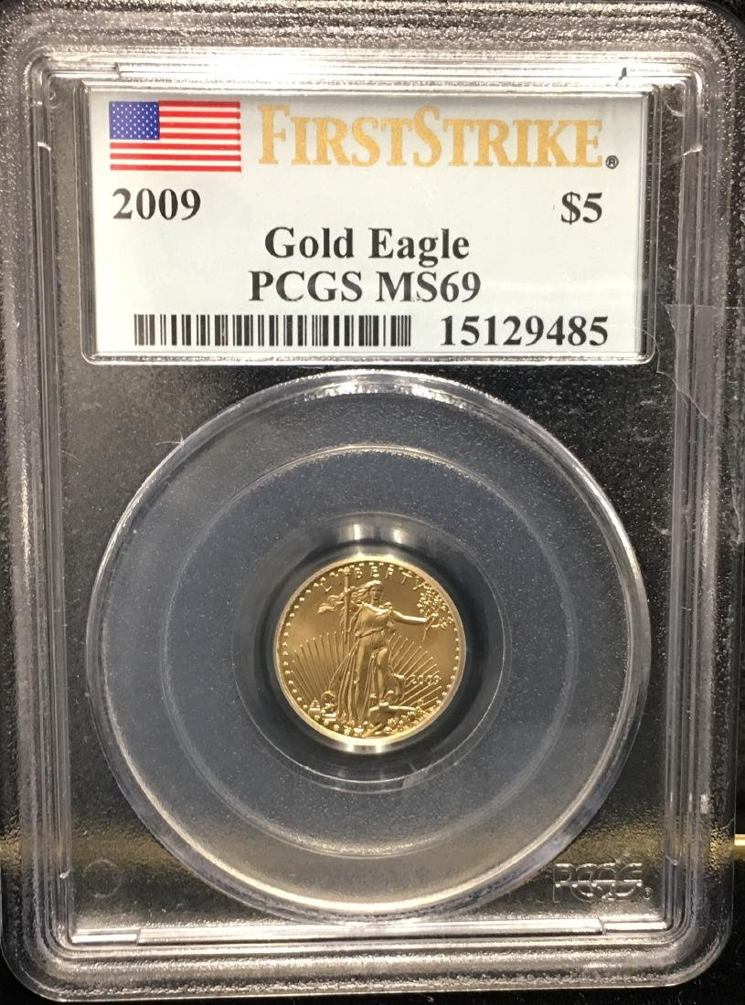 2009 $5 American Gold Eagle 1/10 oz PCGS MS69 First