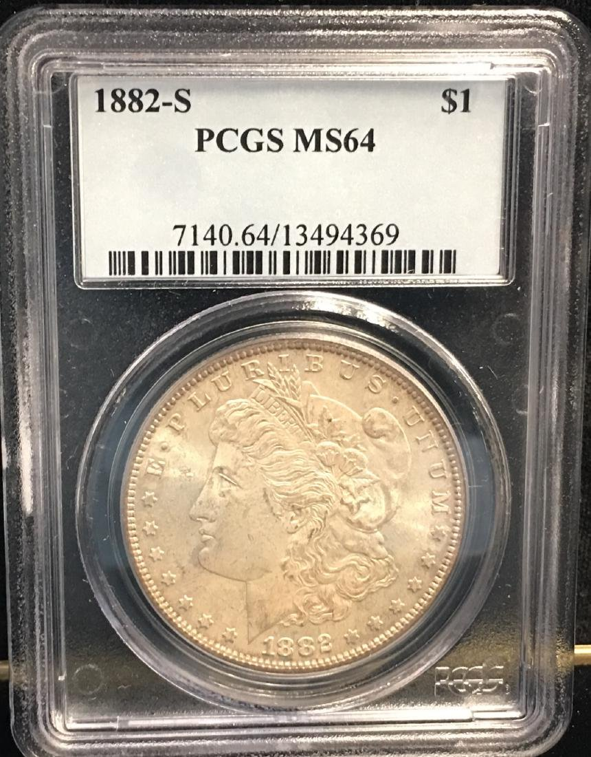 1882-S $1 Morgan Silver Dollar PCGS MS64