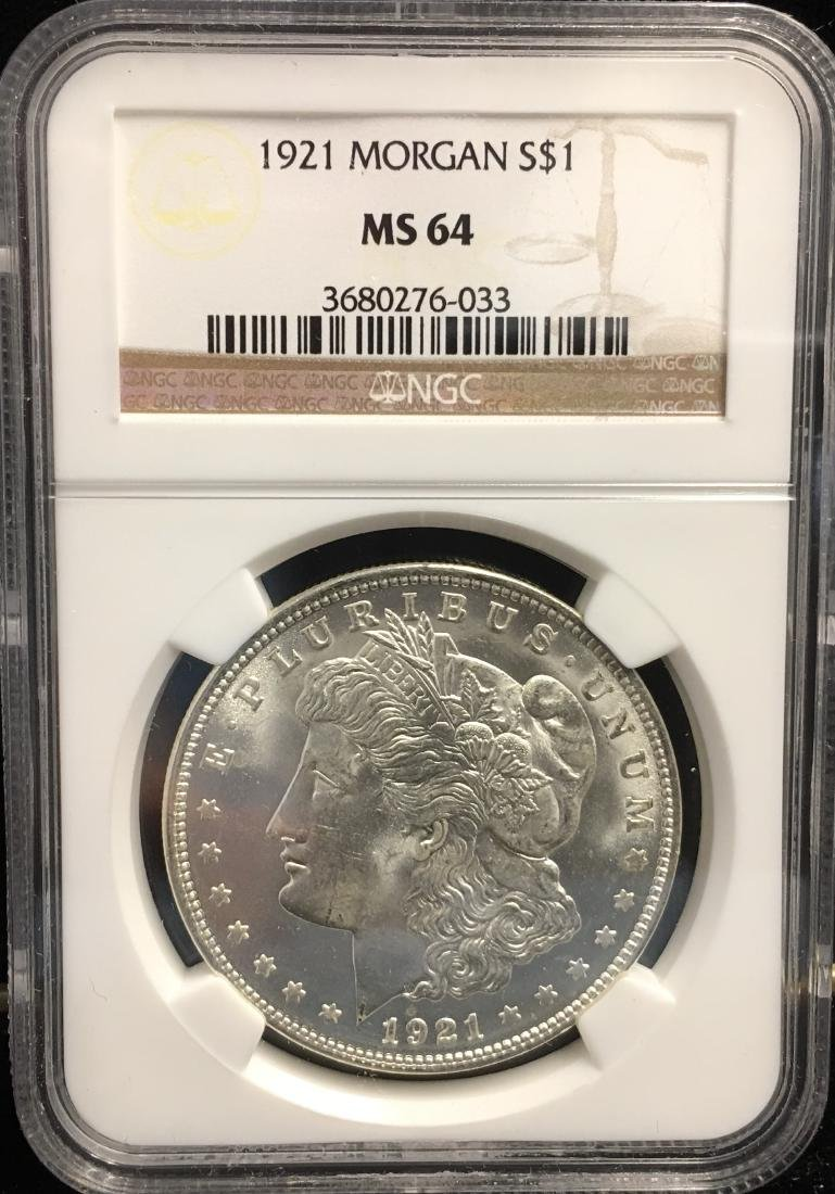 1921-P $1 Morgan Silver Dollar NGC MS64
