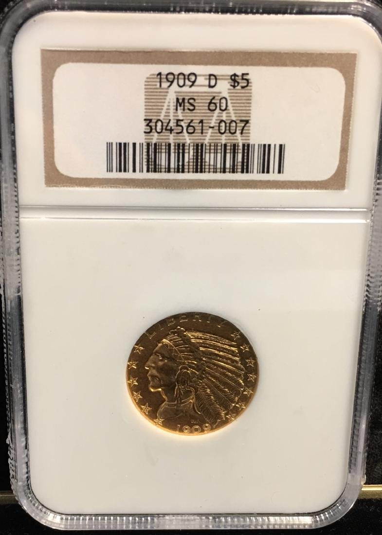 1909-D $5 Gold Indian Head NGC MS60