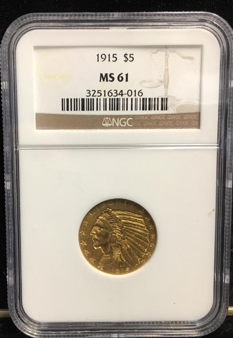 1915 $5 Gold Indian Head NGC MS61