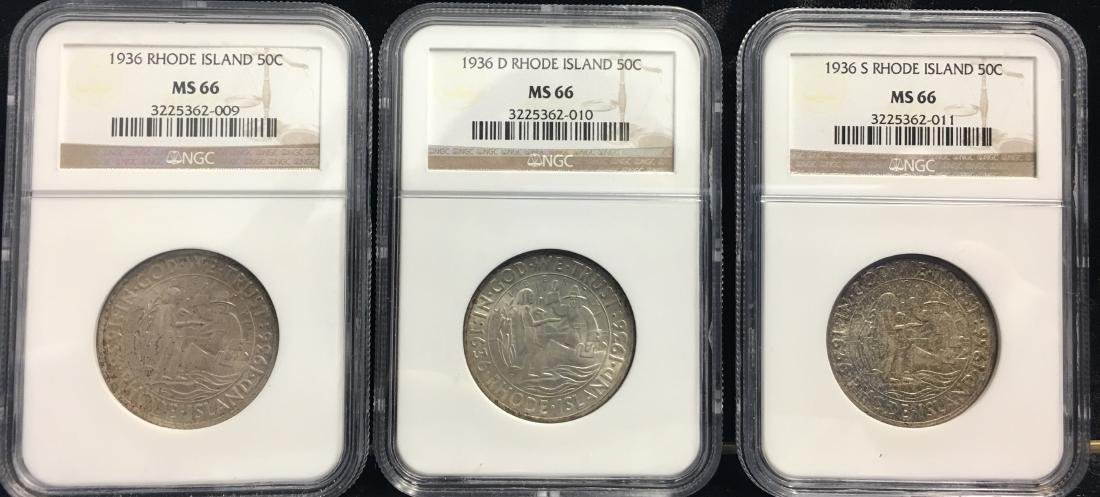 Set of 3 Coins - 1936-PDS 50C Rhode Island Classic
