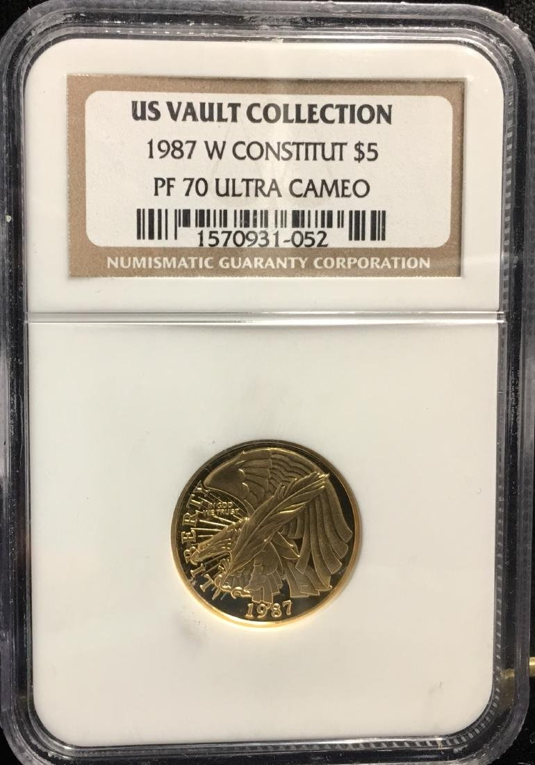 1987-W $5 Constitution Bicentennial Commem. Gold U.S.