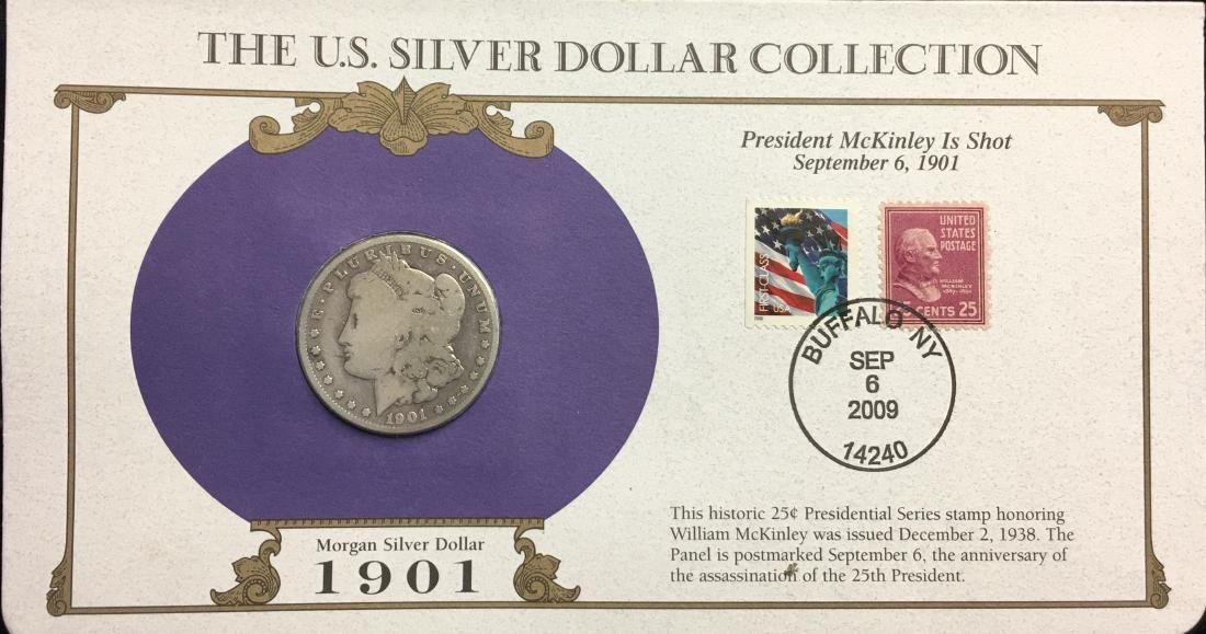 1901-O $1 Morgan Silver Dollar Circulated with Stamps -