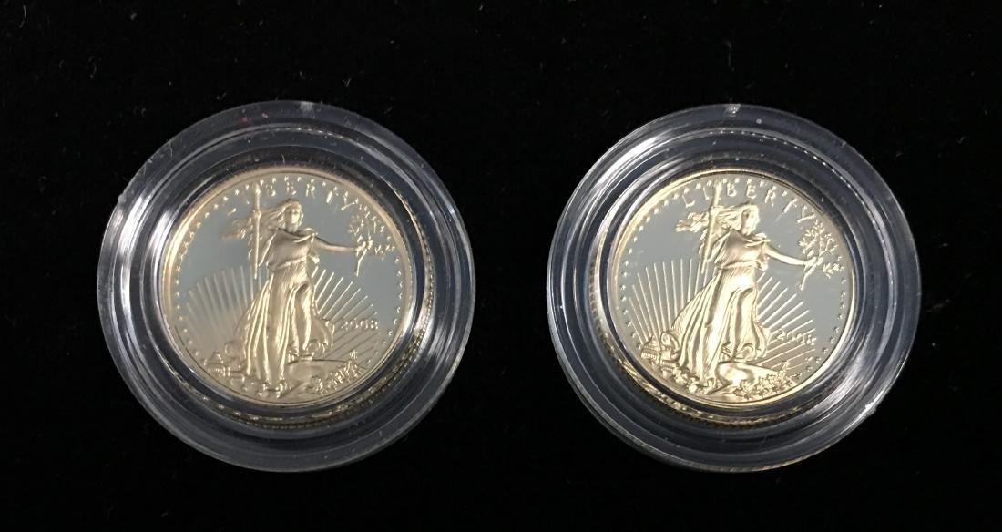 Set of 2 - 2008 $5 American Gold Eagle 1/10 oz Proof