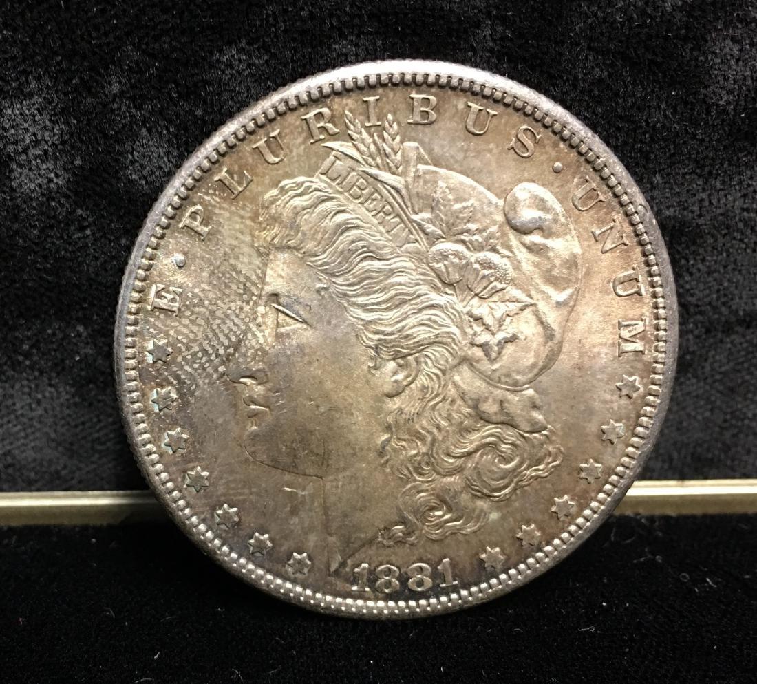 1881-S $1 Morgan Silver Dollar GEM BU Beautiful Toning