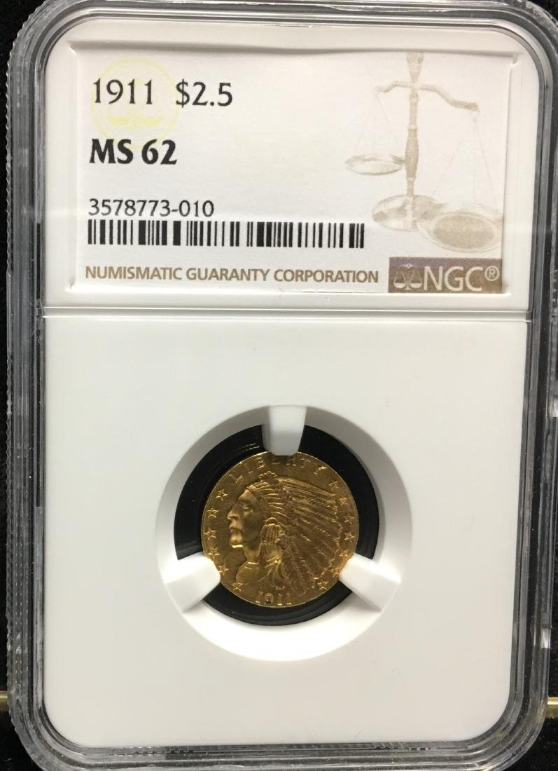 1911 $2.5 Indian Head Gold Quarter Eagle NGC MS62
