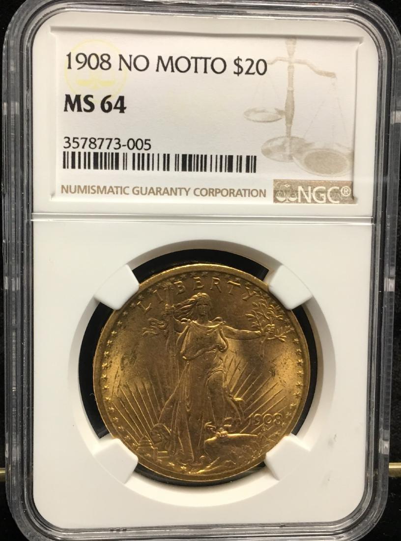 1908 No Motto $20 Saint Gaudens Gold Double Eagle NGC