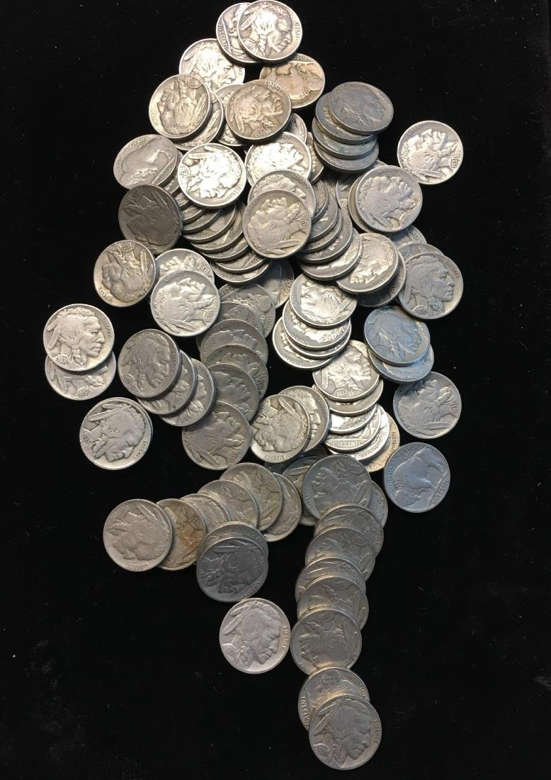 100 Mixed 1930's Buffalo Nickels