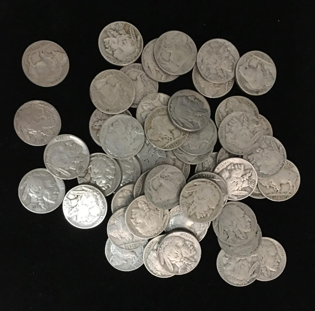 50 Mixed 1930's Buffalo Nickels