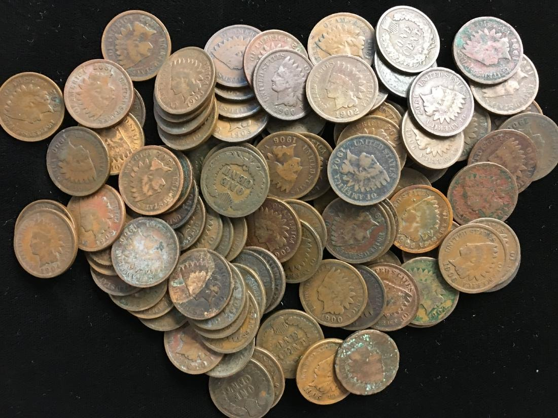 Lot of 100 Mixed 1900's Indian Head Cents - 4