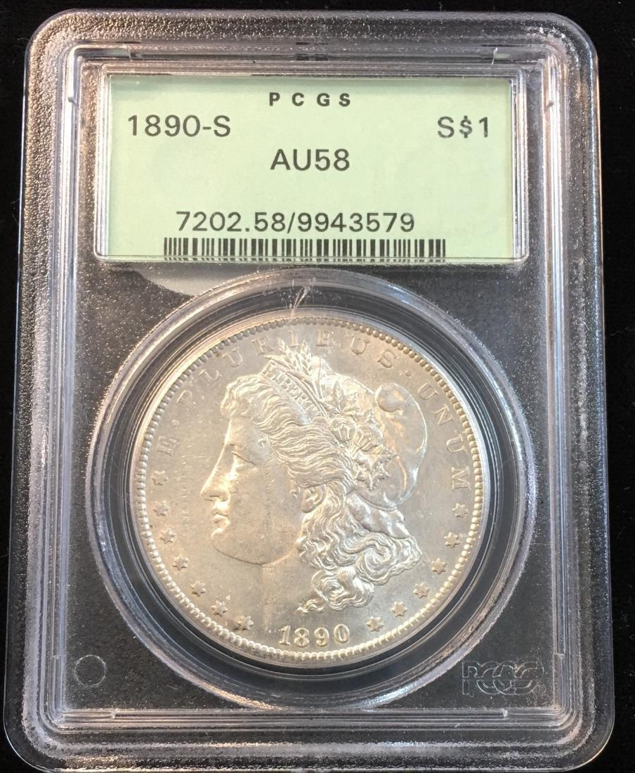 1890-S $1 Morgan Silver Dollar PCGS AU58