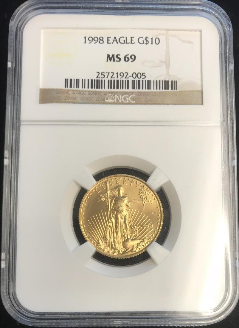 1998 $10 American Gold Eagle NGC MS69 1/4 oz