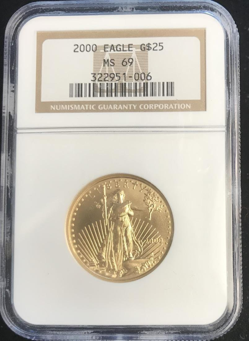 2000 $25 American Gold Eagle NGC MS69 1/2 oz Fine Gold