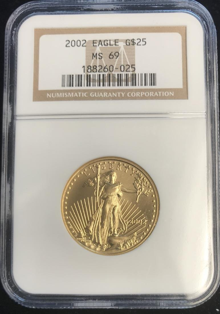 2002 $25 American Gold Eagle NGC MS69 1/2 oz Fine Gold
