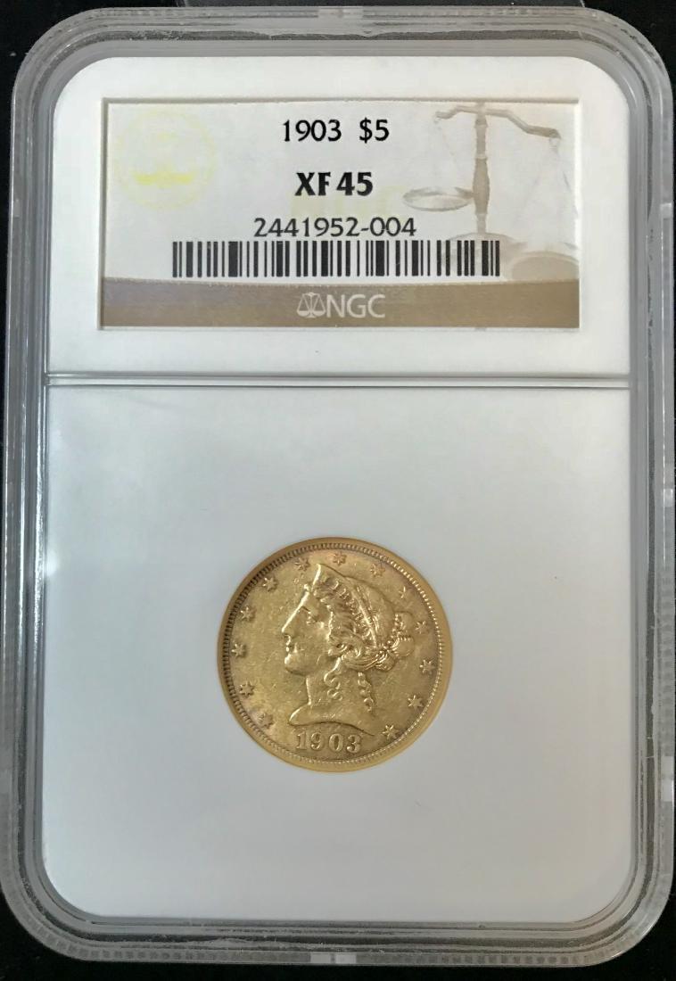 1903 $5 Gold Liberty Head Half Eagle NGC XF45