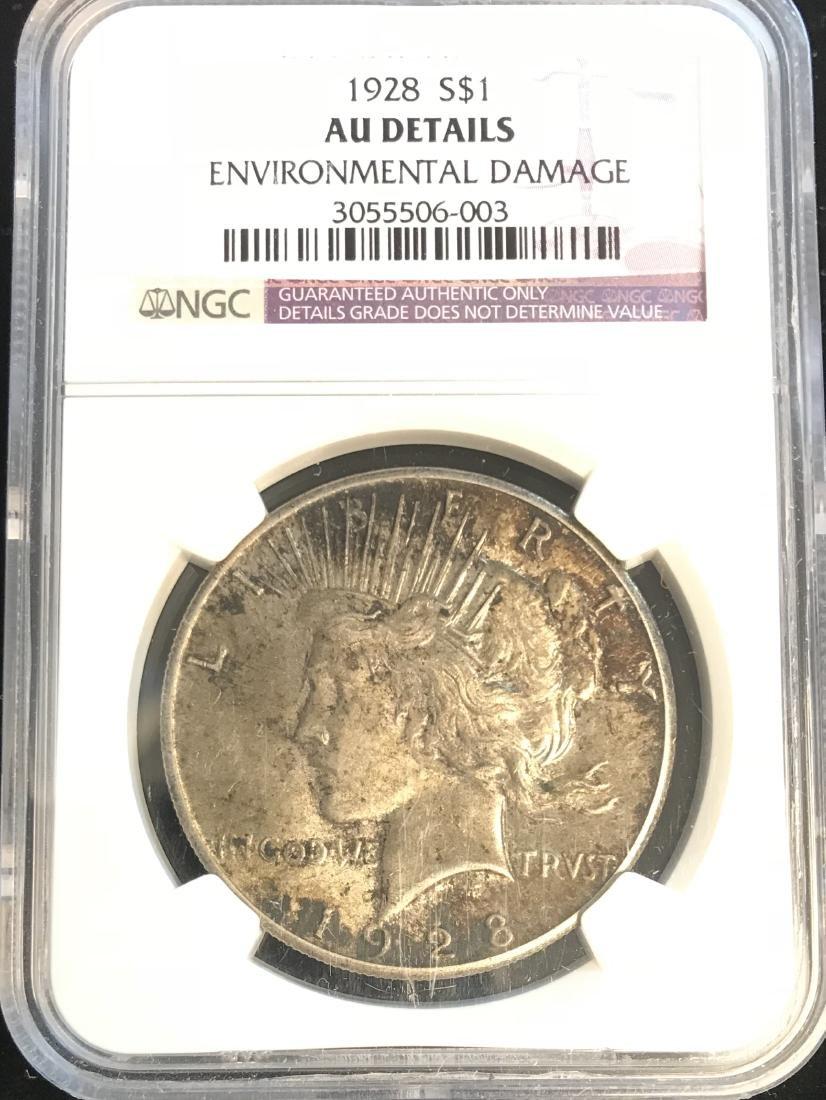 1928-P Peace Silver Dollar NGC AU Details