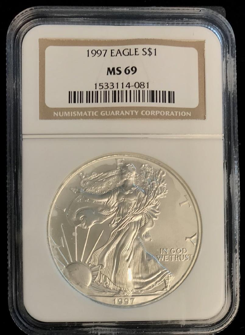 1997 $1 American Silver Eagle NGC MS69