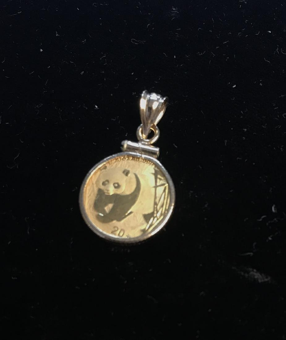 2001 20Yn CHINA GOLD PANDA 1/20 Oz AU .999 GOLD BEZEL
