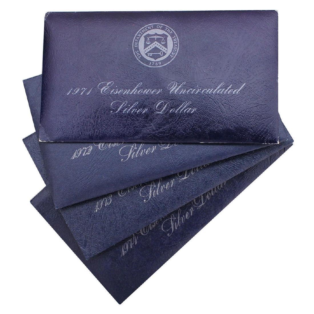 1971-1974 S EISENHOWER DOLLAR BU IN BLUE PACKS