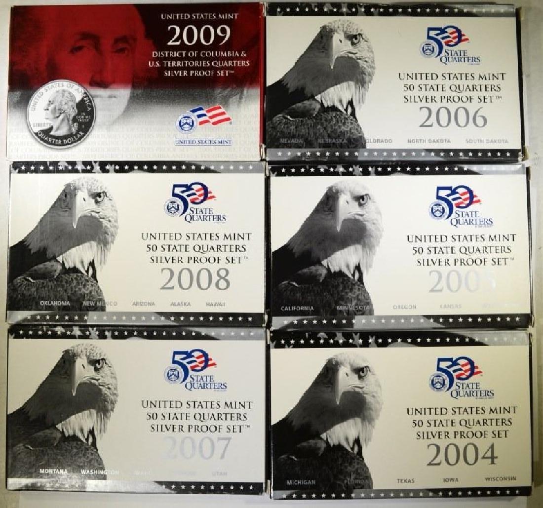 2004-2009 U.S. Mint State Quarters Silver Proof Sets