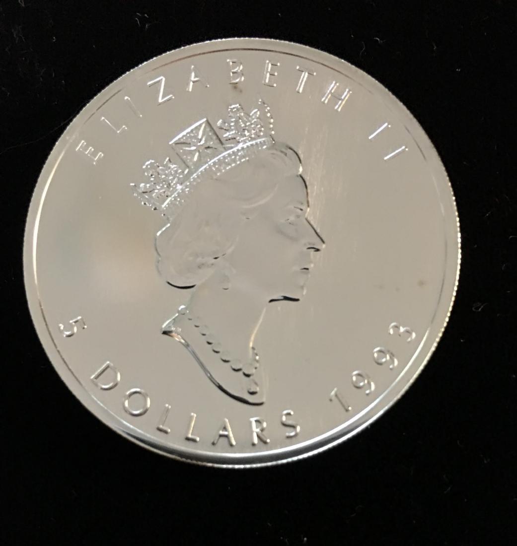 1993 $5 Canada Maple Leaf 1oz. Fine Silver