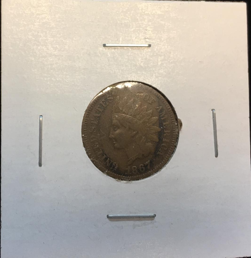 1867 1C Indian Head Cent F+