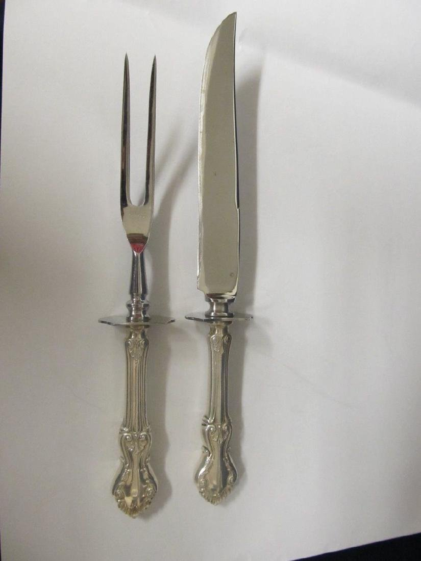 FRANK WHITING GEORGIAN SHELL STERLING HDLE CARVING SET