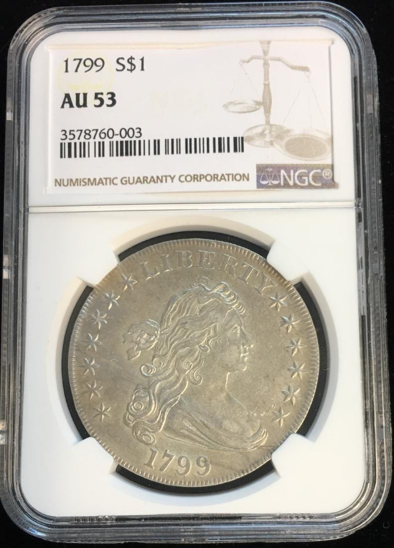 1799 $1 Draped Bust Silver Dollar NGC AU53