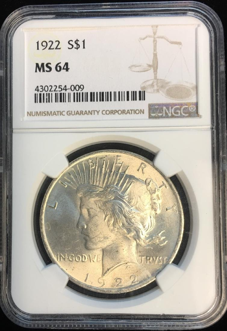 1922-P $1 Peace Silver Dollar NGC MS64