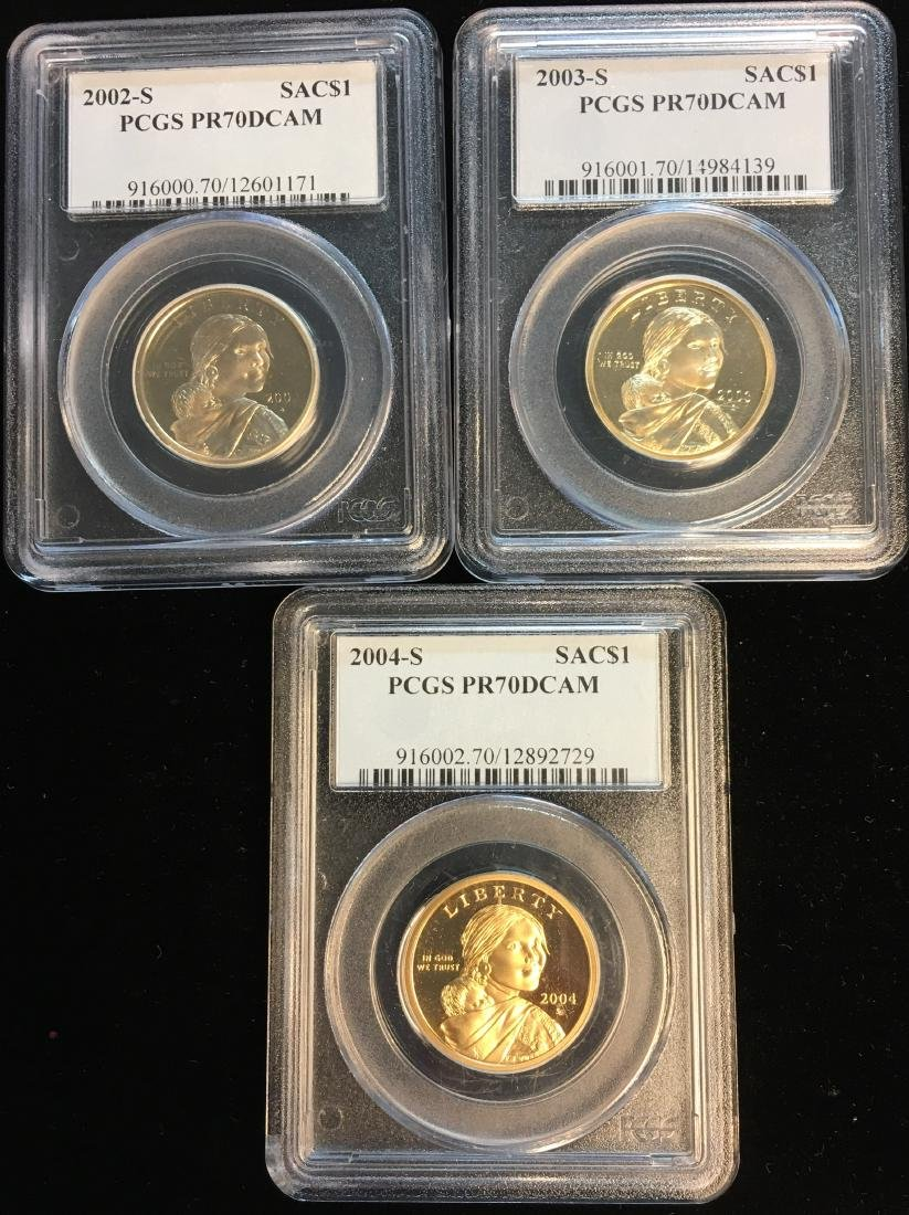 Lot of 3 Sacagawea Dollars: 2002-S, 2003-S, 2004-S PCGS
