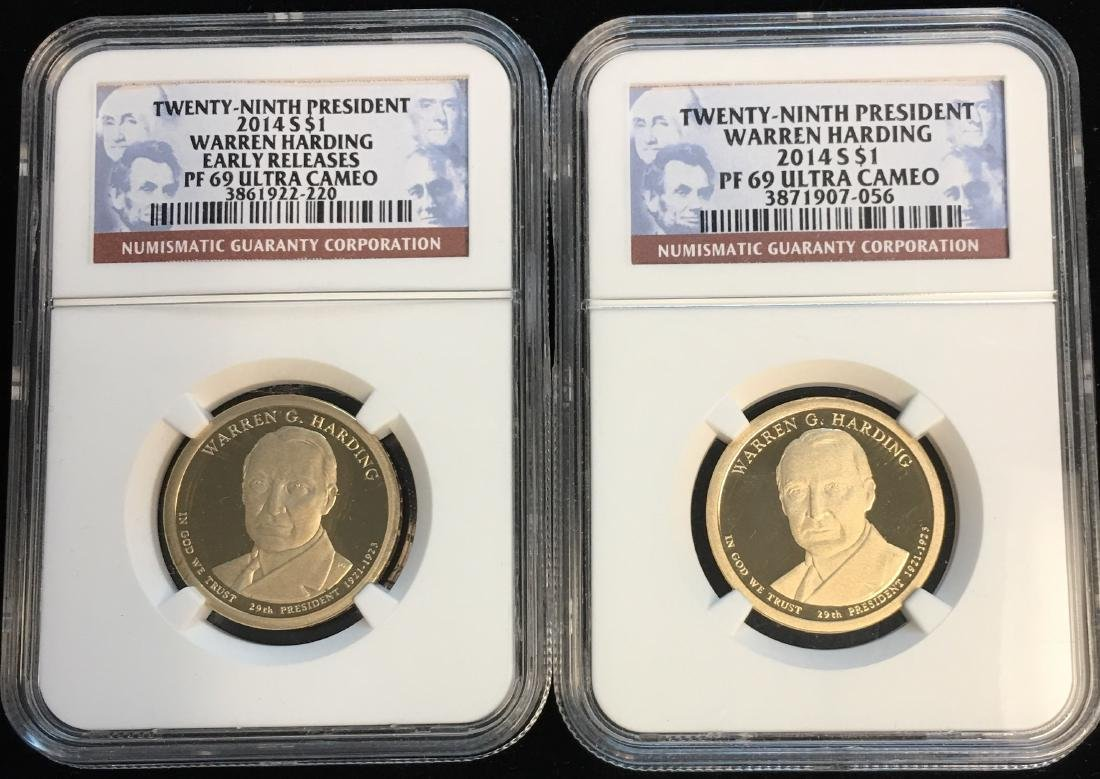 Set of 2: 2014-S Presidential Dollar W. Harding NGC