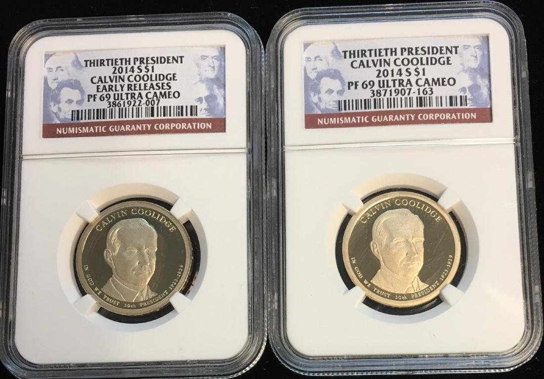 Set of 2: 2014-S Presidential Dollar C.Coolidge NGC