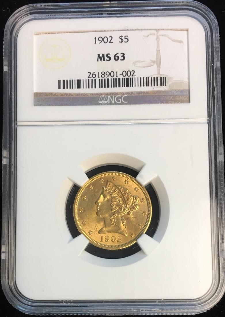 1902 $5 Liberty Gold Half Eagle NGC MS63
