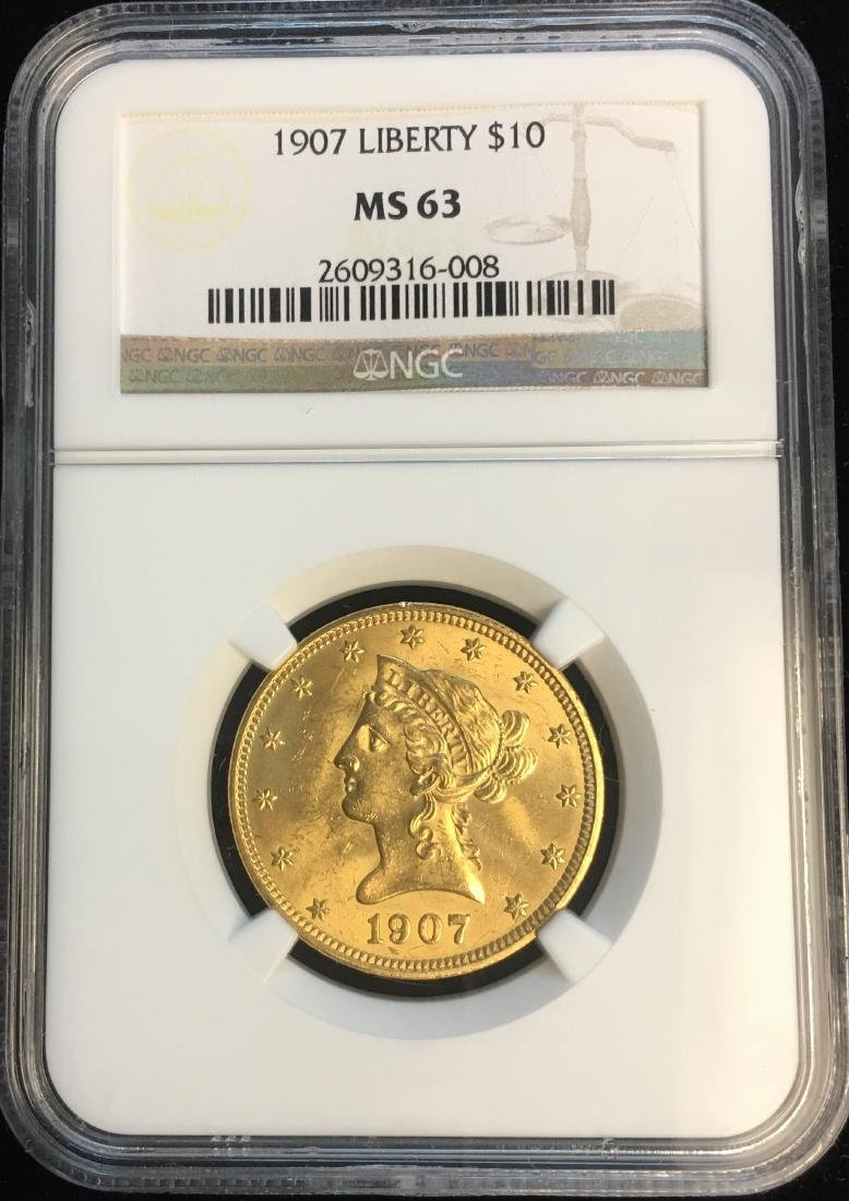 1907 $10 Gold Liberty Head NGC MS63