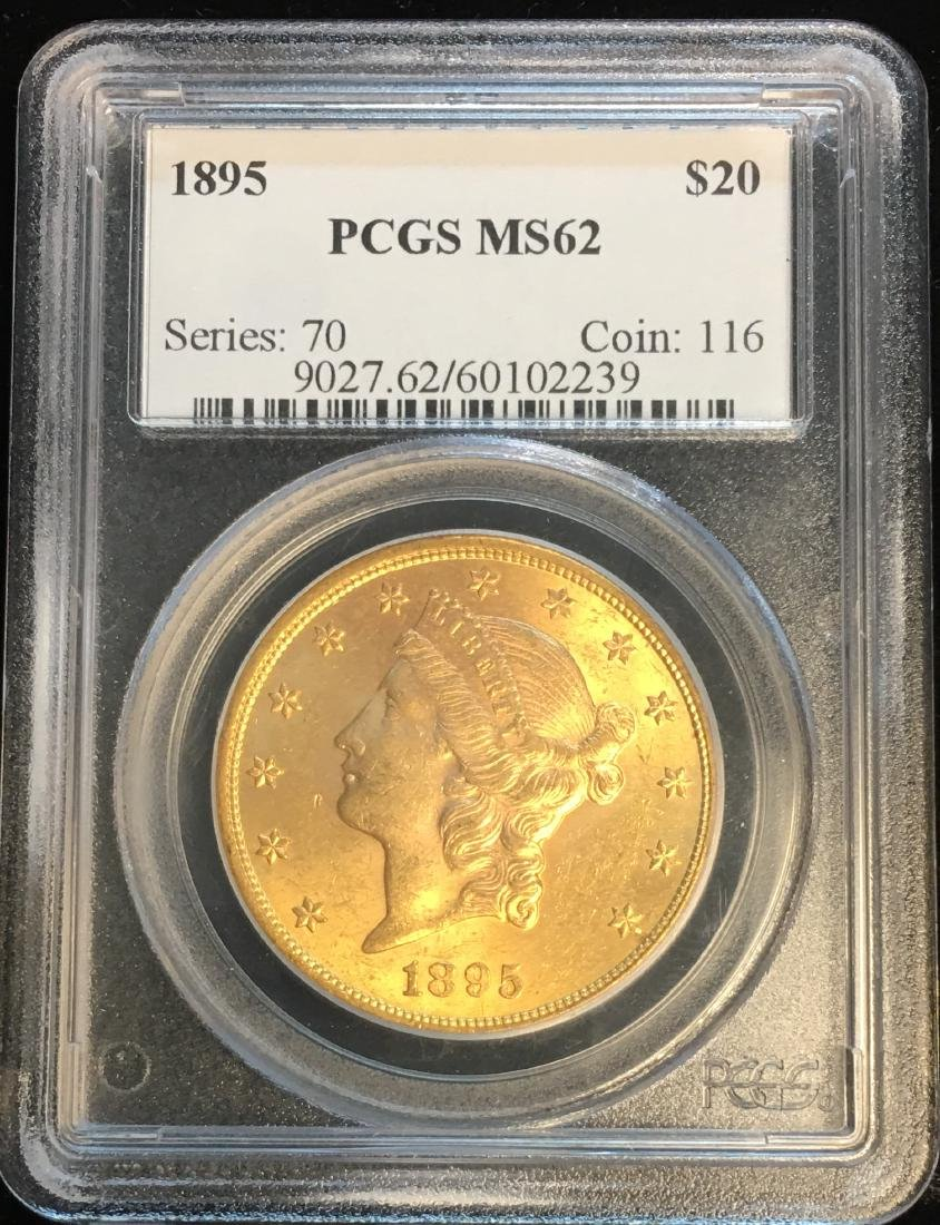 1895 $20 Gold Liberty Head Double Eagle PCGS MS62