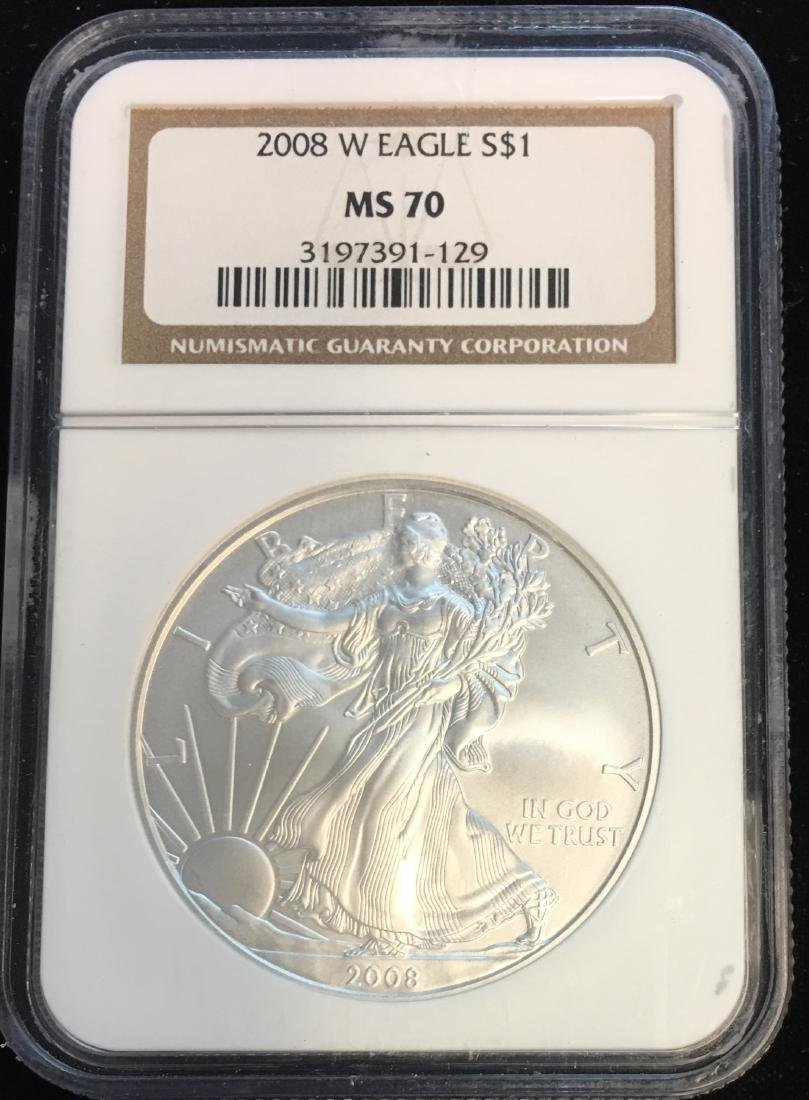 2008-W $1 American Silver Eagle Burnished NGC MS70