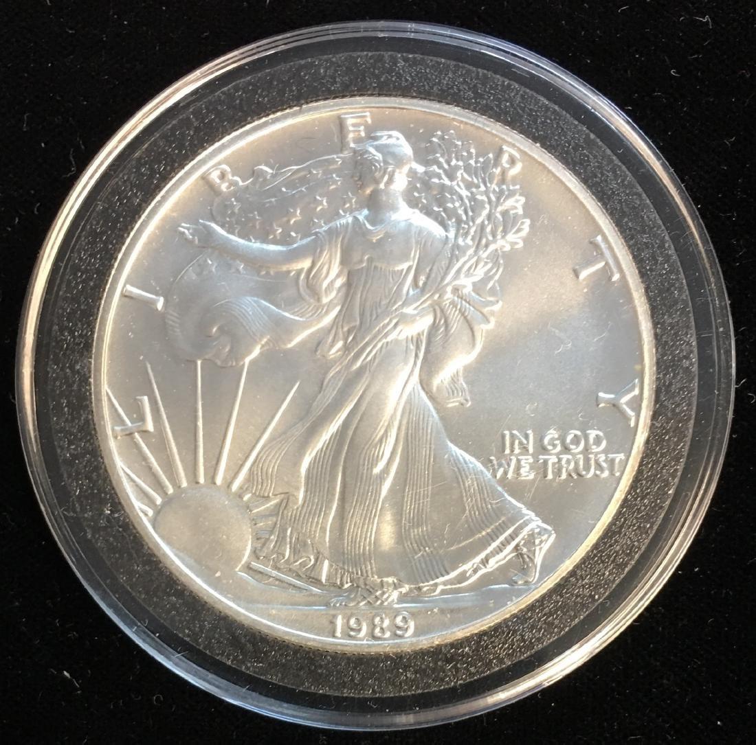 1989 $1 American Silver Eagle 1oz BU capsulated