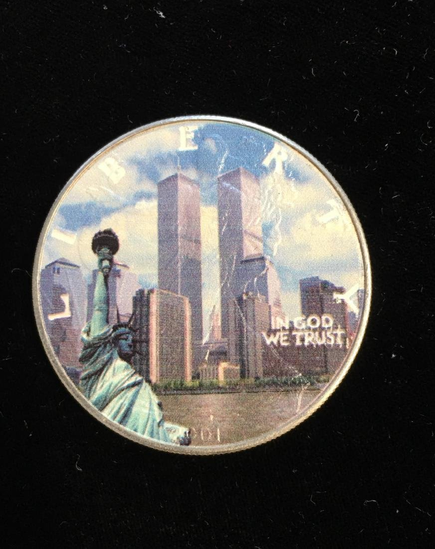 2001 Colorized Silver Eagle In Memory September 11,